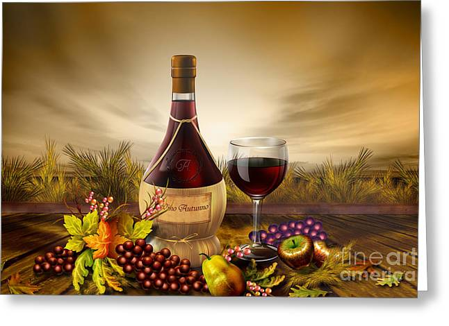 Grape Leaves Mixed Media Greeting Cards - Autumn Wine Greeting Card by Bedros Awak