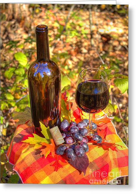 Canvas Wine Prints Photographs Greeting Cards - Autumn Wine Greeting Card by Jimmy Ostgard