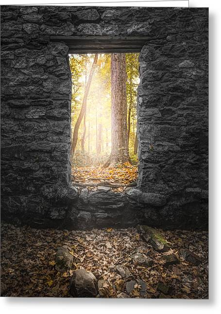 Light Within Greeting Cards - Autumn within Long Pond Ironworks - Historical Ruins Greeting Card by Gary Heller