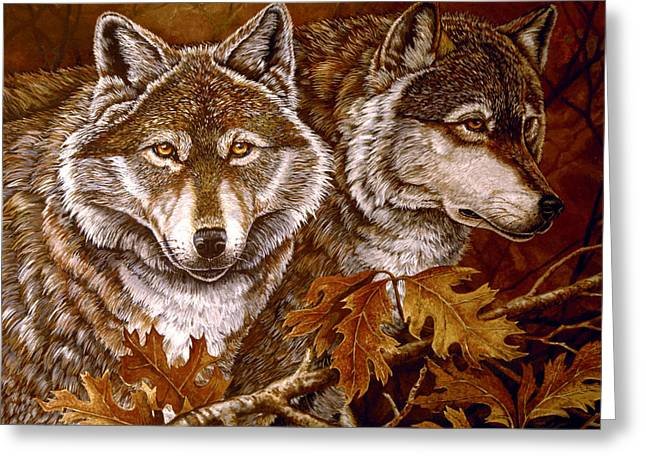 Autumn Wolves Greeting Card by Sandy Williams
