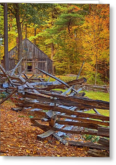 New England Village Scene Greeting Cards - Autumn Wooden Fence Greeting Card by Joann Vitali