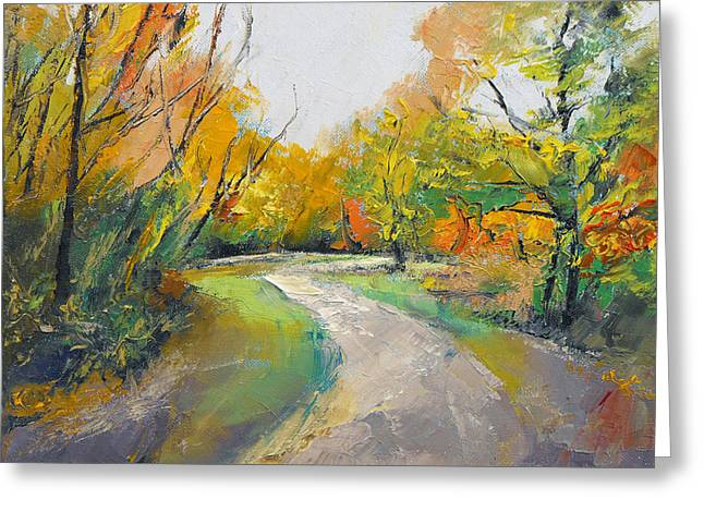 Autumn Woodland Path Greeting Card by Michael Creese