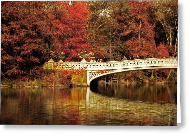 Red Leaves Digital Greeting Cards - Autumnal Bow Bridge  Greeting Card by Jessica Jenney