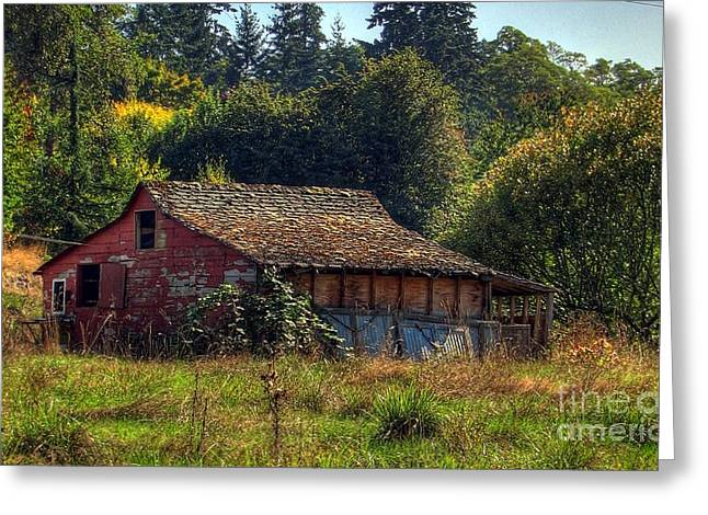Old Barns Greeting Cards - Autumnal HDR Greeting Card by Chris Anderson
