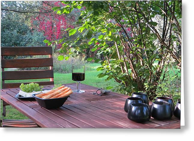 Table Wine Greeting Cards - Autumnal Rest in the Garden Greeting Card by B Vesseur