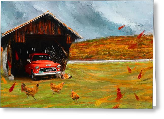New England Autumn Greeting Cards - Autumnal Restful View-Farm Scene Paintings Greeting Card by Lourry Legarde