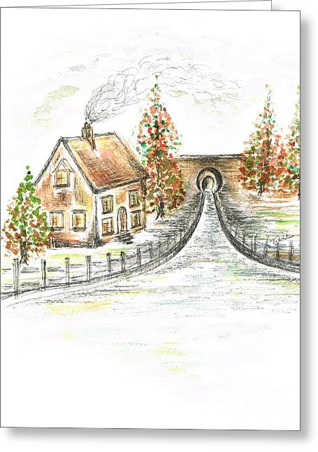 Water Flowing Mixed Media Greeting Cards - Autumns Day Greeting Card by Teresa White