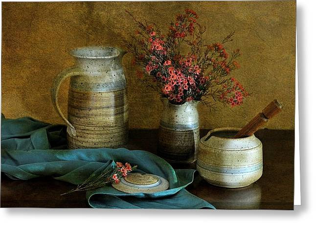 Bowl Of Flowers Greeting Cards - Autumns Earth Greeting Card by Diana Angstadt
