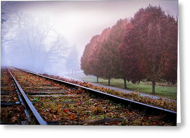 Old Country Roads Greeting Cards - Autumns Journey Greeting Card by Debra and Dave Vanderlaan