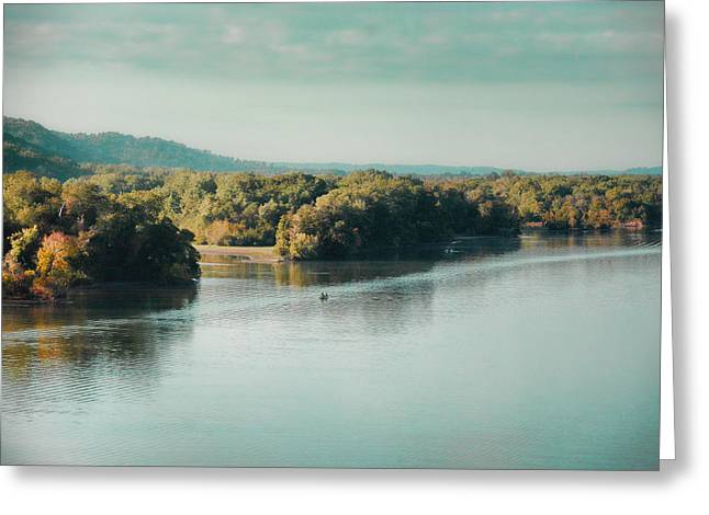 Tennessee River Greeting Cards - Autumns Knocking on the Door - River Scene Greeting Card by Jai Johnson