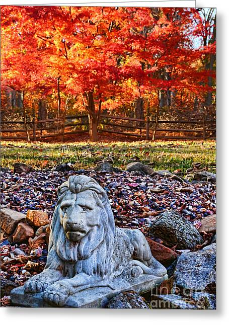 Autumn's Lion Greeting Card by Lee Dos Santos
