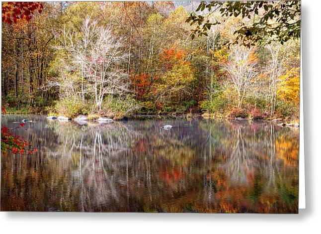 Reflections In River Greeting Cards - Autumns Peak Greeting Card by Debra and Dave Vanderlaan