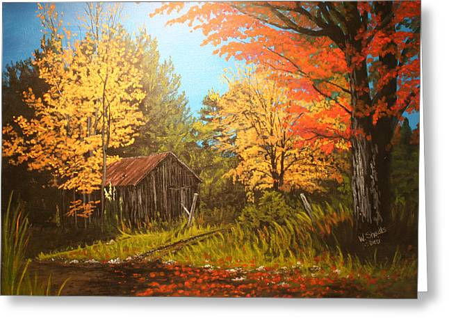 Old Barns Greeting Cards - Autumns Rustic Road Greeting Card by Wendy Shoults