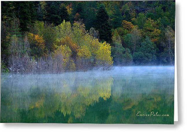 Nebbia Greeting Cards - AUTUNNO Alba sul lago - AUTUMN Lake dawn 9608 Greeting Card by Enrico Pelos