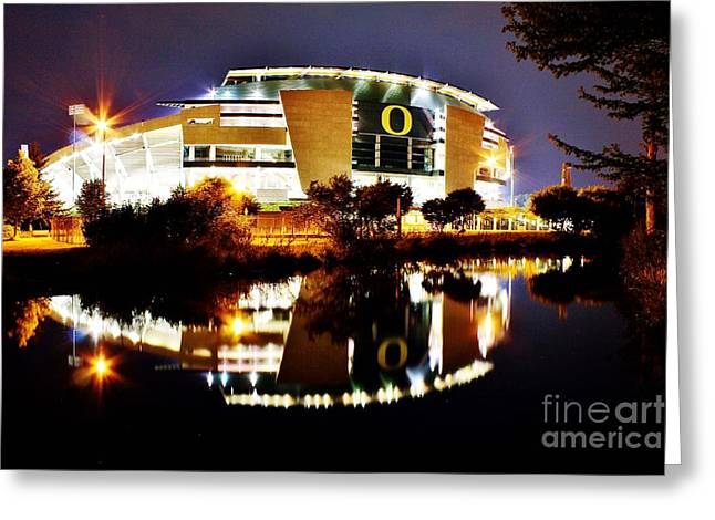 Oregon Ducks Greeting Cards - Autzen at Night Greeting Card by Michael Cross