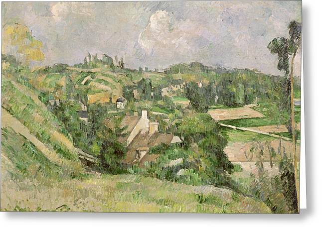 Auvers-sur-oise, Seen From The Val Harme Greeting Card by Paul Cezanne