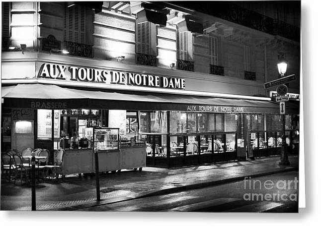 Night Cafe Greeting Cards - Aux Tours de Notre Dame Greeting Card by John Rizzuto