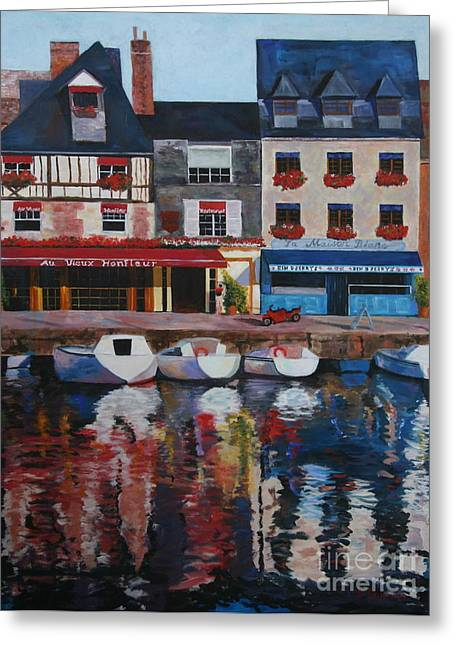 Recently Sold -  - Boats On Water Greeting Cards - Aux Vieux Honfleur Greeting Card by Barbara Lynn Dunn
