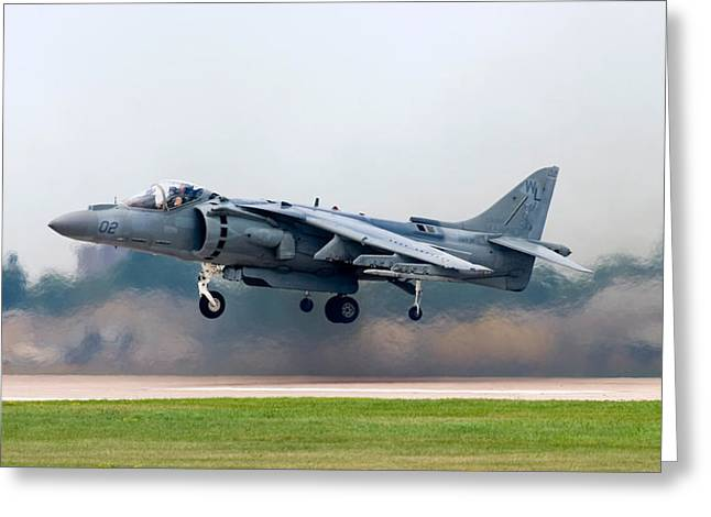Jet Greeting Cards - AV-8B Harrier Greeting Card by Adam Romanowicz