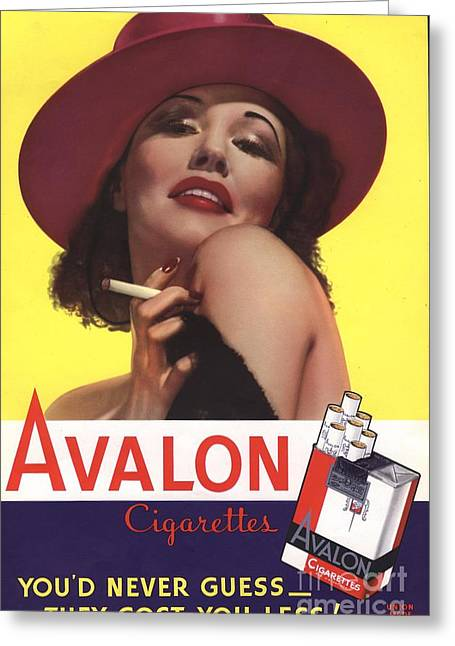Vintage Greeting Cards - Avalon 1930s Usa Glamour Cigarettes Greeting Card by The Advertising Archives