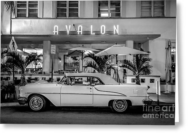 1930s Greeting Cards - Avalon Hotel and Oldsmobile 88 - South Beach - Miami - Black and White Greeting Card by Ian Monk