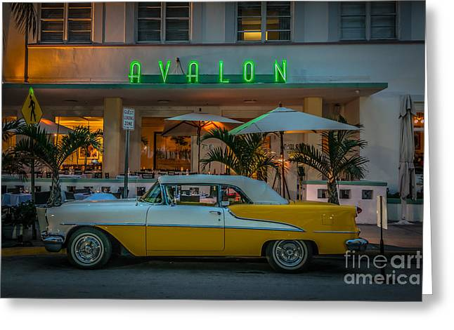 1930s Greeting Cards - Avalon Hotel and Oldsmobile 88 - South Beach - Miami - HDR Style Greeting Card by Ian Monk
