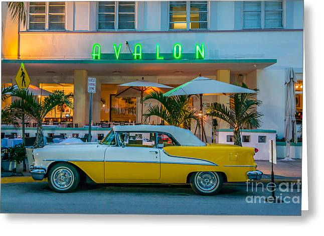 1930s Greeting Cards - Avalon Hotel and Oldsmobile 88 - South Beach - Miami Greeting Card by Ian Monk