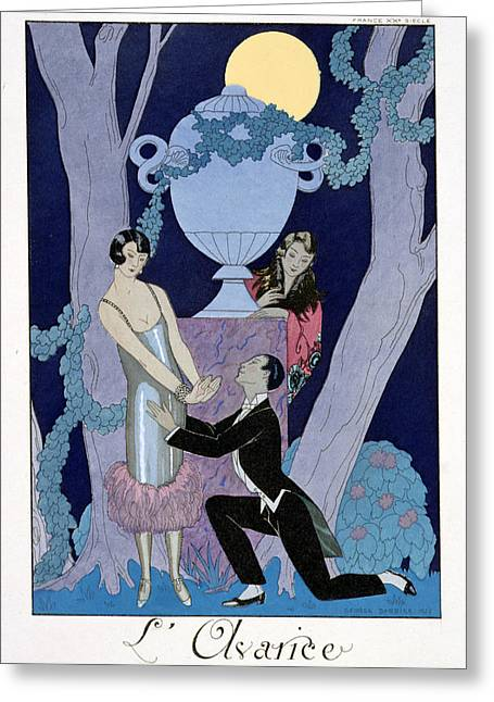 Twenties Greeting Cards - Avarice Greeting Card by Georges Barbier
