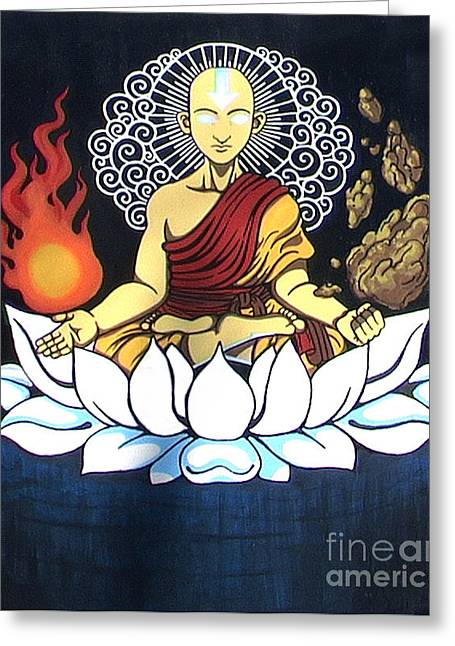 Avatar Aang Buddha Pose Greeting Card by Jin Kai