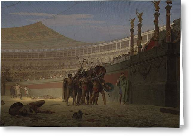 Gladiator Greeting Cards - Ave Caesar! Morituri Te Salutant , 1859 Greeting Card by Jean Leon Gerome
