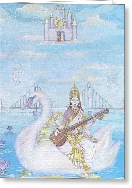 Hindu Goddess Greeting Cards - Ave Saraswati Greeting Card by Sonya Ki Tomlinson