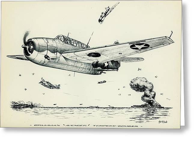 Tbf Drawings Greeting Cards - Avenger Greeting Card by Hank  Clark
