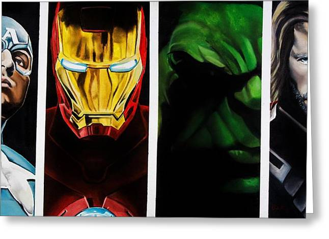 Thor Paintings Greeting Cards - Avengers Greeting Card by Brian Broadway