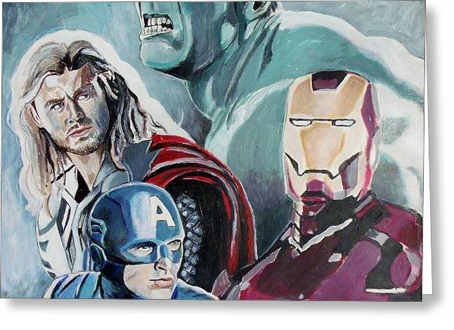 Avengers Greeting Card by Jeremy Moore