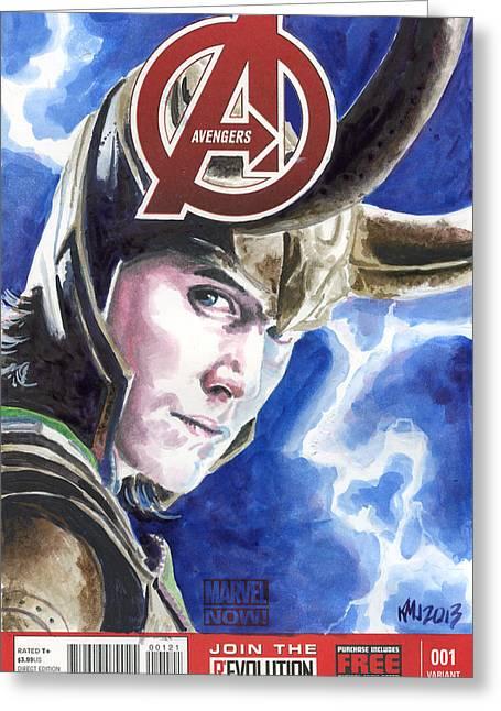 Loki Greeting Cards - Avengers Loki Greeting Card by Ken Meyer jr