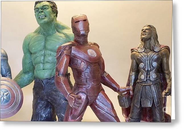 Great Sculptures Greeting Cards - Avengers- The Collection Greeting Card by Wayne Headley