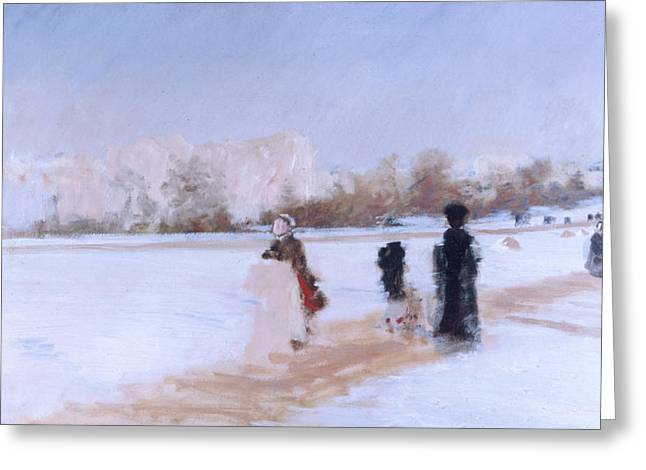 Winter Roads Paintings Greeting Cards - Avenue de Bois de Boulogne Greeting Card by Giuseppe De Nittis
