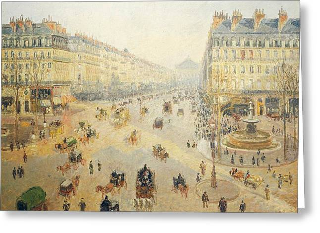 France 1874-1886 Greeting Cards - Avenue de lOpera in Paris Greeting Card by Camille Pissarro