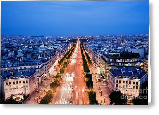 Champs Elysees Greeting Cards - Avenue des Champs Elysees in Paris Greeting Card by Michal Bednarek