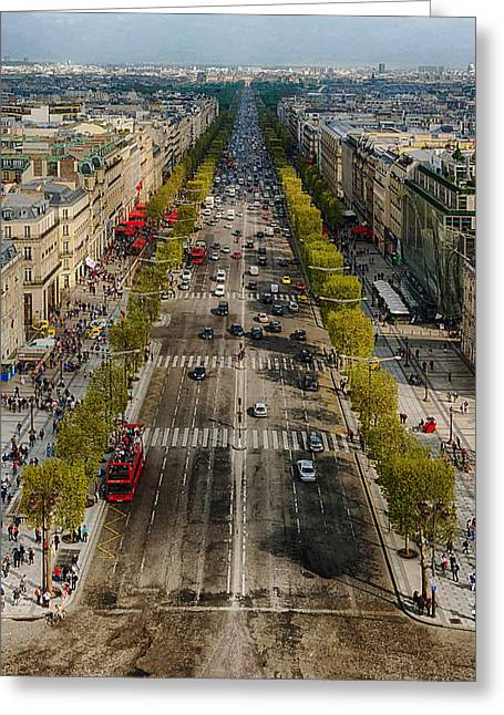 Champs Greeting Cards - Avenue des Champs Elysees of Arc de Triomphe  Greeting Card by Mountain Dreams