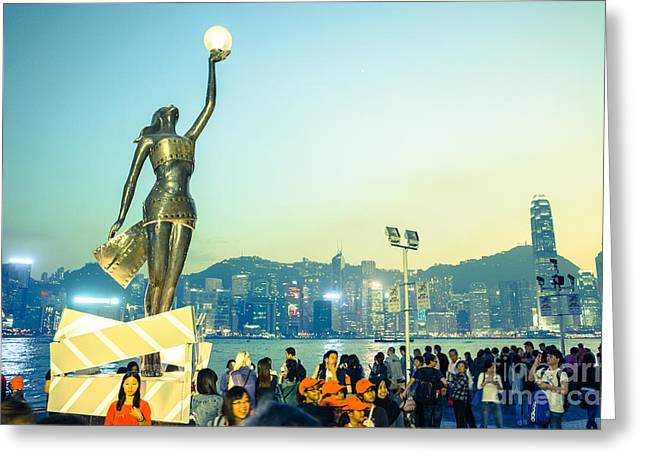 Sha Greeting Cards - Avenue of stars in Hong Kong Greeting Card by Tuimages