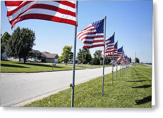 Avenue of the Flags Greeting Card by Cricket Hackmann