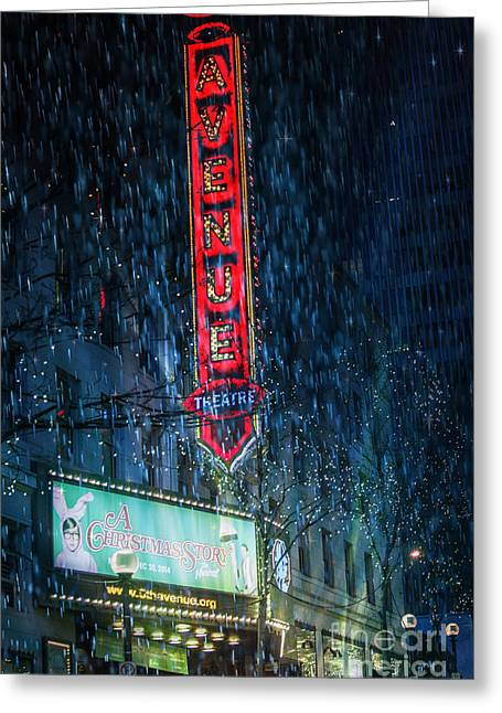 A Christmas Story Greeting Cards - Avenue Theatre Seattle Poster Greeting Card by Alanna Dumonceaux