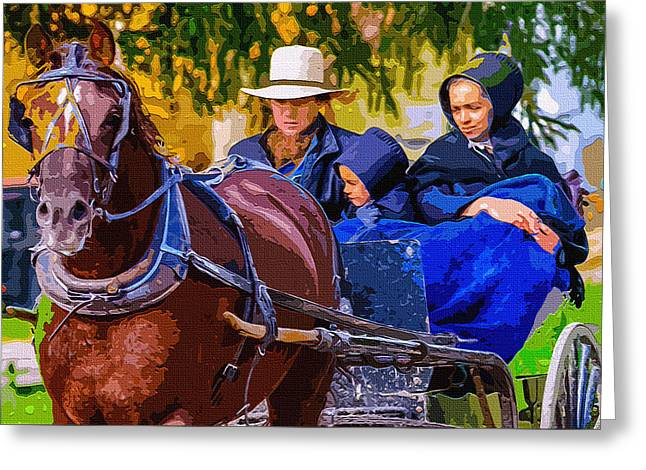 Amish Family Digital Art Greeting Cards - Averted Eyes 2 Greeting Card by Brian Stevens