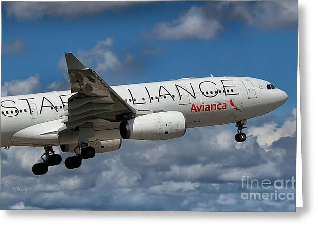 Star Alliance Airline Photographs Greeting Cards - Avianca Star Alliance Airbus A-330 Greeting Card by Rene Triay Photography