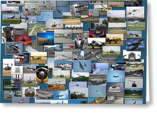 Coller Greeting Cards - Aviation Collage Greeting Card by Thomas Woolworth