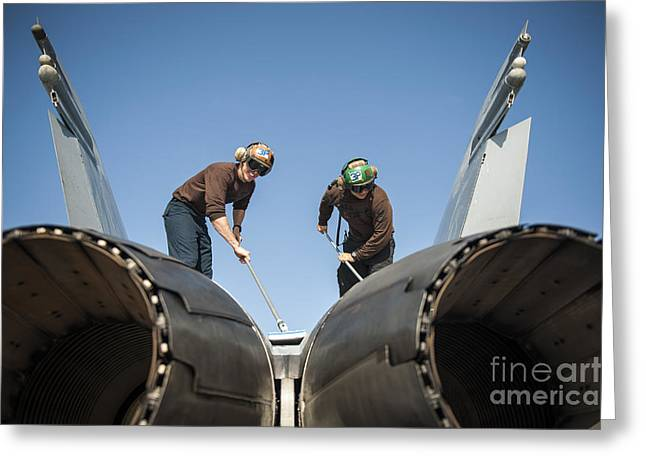 Military Airplanes Greeting Cards - Aviation Machinist's Mates Clean An Greeting Card by Stocktrek Images