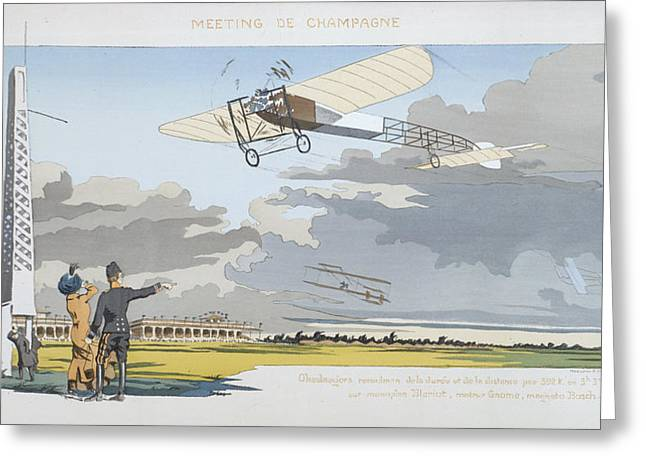 Pilot Greeting Cards - Aviation Meeting At Champagne Greeting Card by Marguerite Montaut