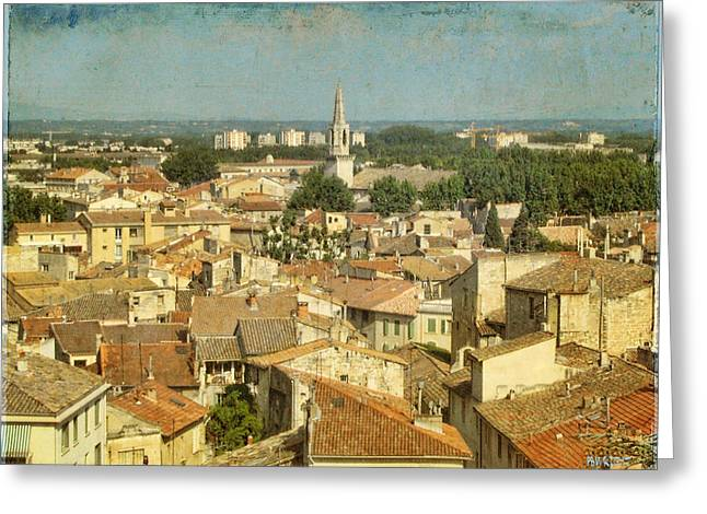 Google Digital Greeting Cards - Avignon From Les Roches Greeting Card by Paulette B Wright