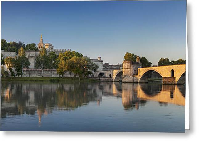 River Scenes Greeting Cards - Avignon Panoramic Greeting Card by Brian Jannsen